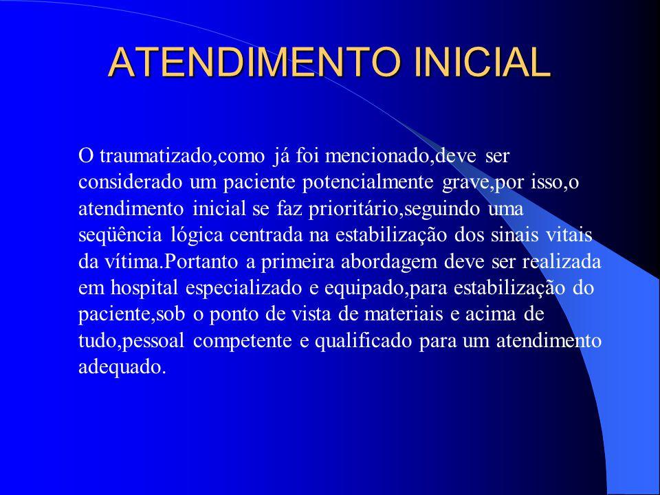 ETAPAS PARA O ATENDIMENTO INICIAL: Planejamento; Triagem; Avaliação primária; Restabelecimento dos sinais vitais; Avaliação secundária; Reavaliação; Tratamento definitivo.
