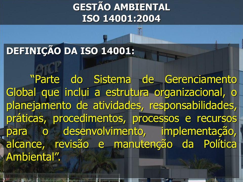 GESTÃO AMBIENTAL ISO 14001:2004 DEFINIÇÃO DA ISO 14001: Parte do Sistema de Gerenciamento Global que inclui a estrutura organizacional, o planejamento