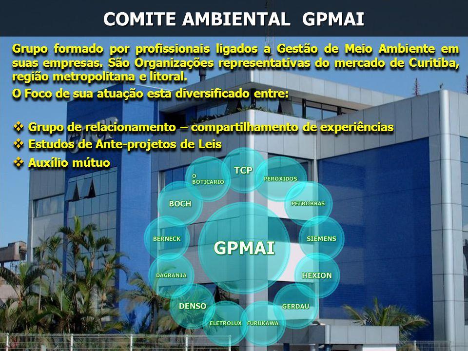 COMITE AMBIENTAL GPMAI Grupo formado por profissionais ligados a Gestão de Meio Ambiente em suas empresas. São Organizações representativas do mercado