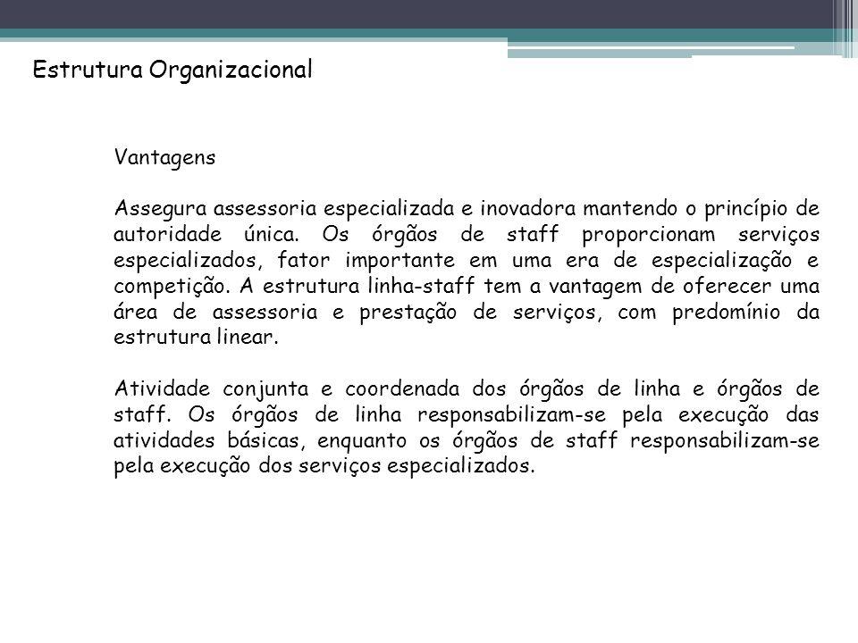 Estrutura Organizacional Vantagens Assegura assessoria especializada e inovadora mantendo o princípio de autoridade única.