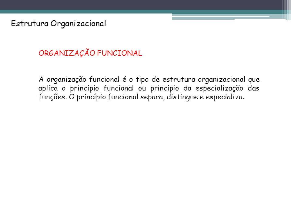 Estrutura Organizacional ORGANIZAÇÃO FUNCIONAL A organização funcional é o tipo de estrutura organizacional que aplica o princípio funcional ou princípio da especialização das funções.