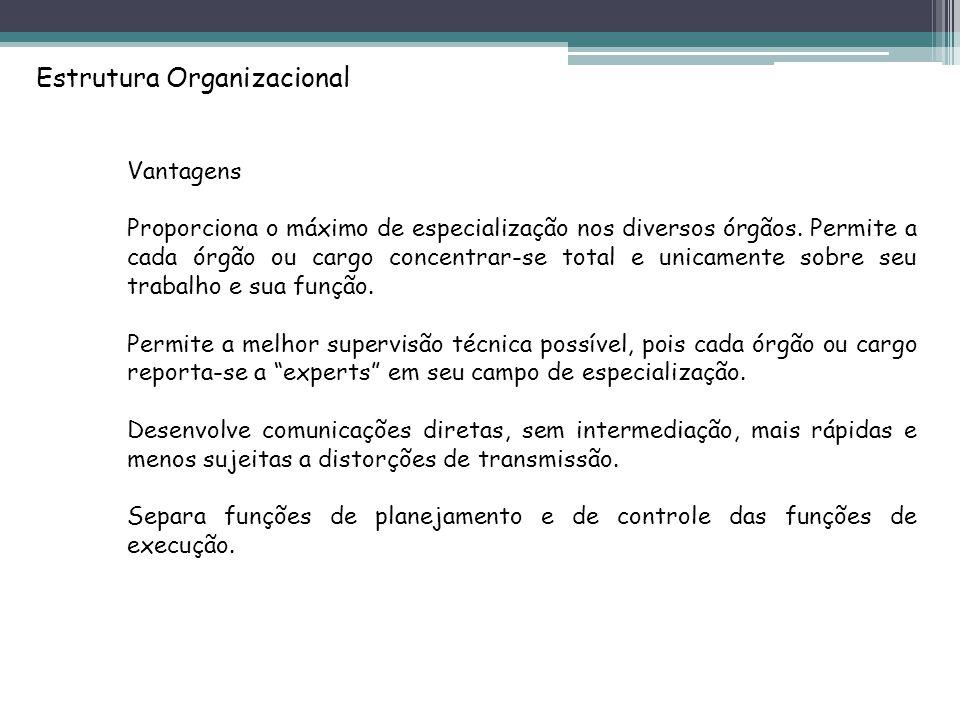 Estrutura Organizacional Vantagens Proporciona o máximo de especialização nos diversos órgãos.