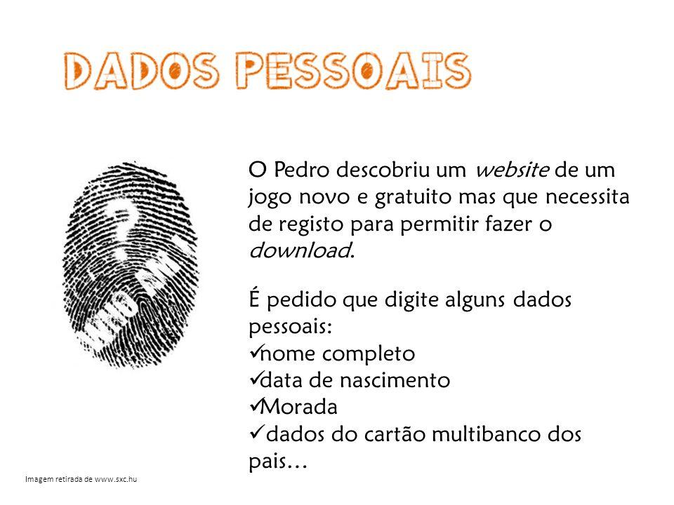 O Pedro descobriu um website de um jogo novo e gratuito mas que necessita de registo para permitir fazer o download.
