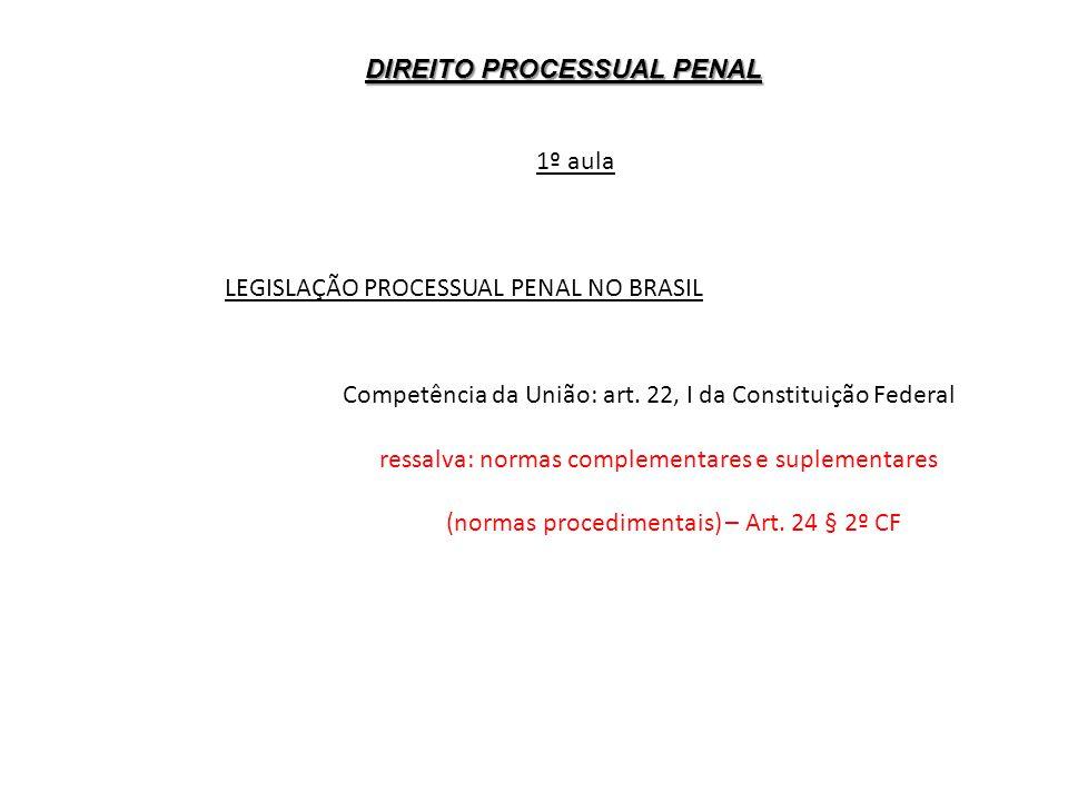 DIREITO PROCESSUAL PENAL 1º aula LEGISLAÇÃO PROCESSUAL PENAL NO BRASIL Competência da União: art. 22, I da Constituição Federal ressalva: normas compl