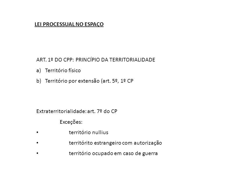 LEI PROCESSUAL NO ESPAÇO ART. 1º DO CPP: PRINCÍPIO DA TERRITORIALIDADE a)Território físico b)Território por extensão (art. 5º, 1º CP Extraterritoriali