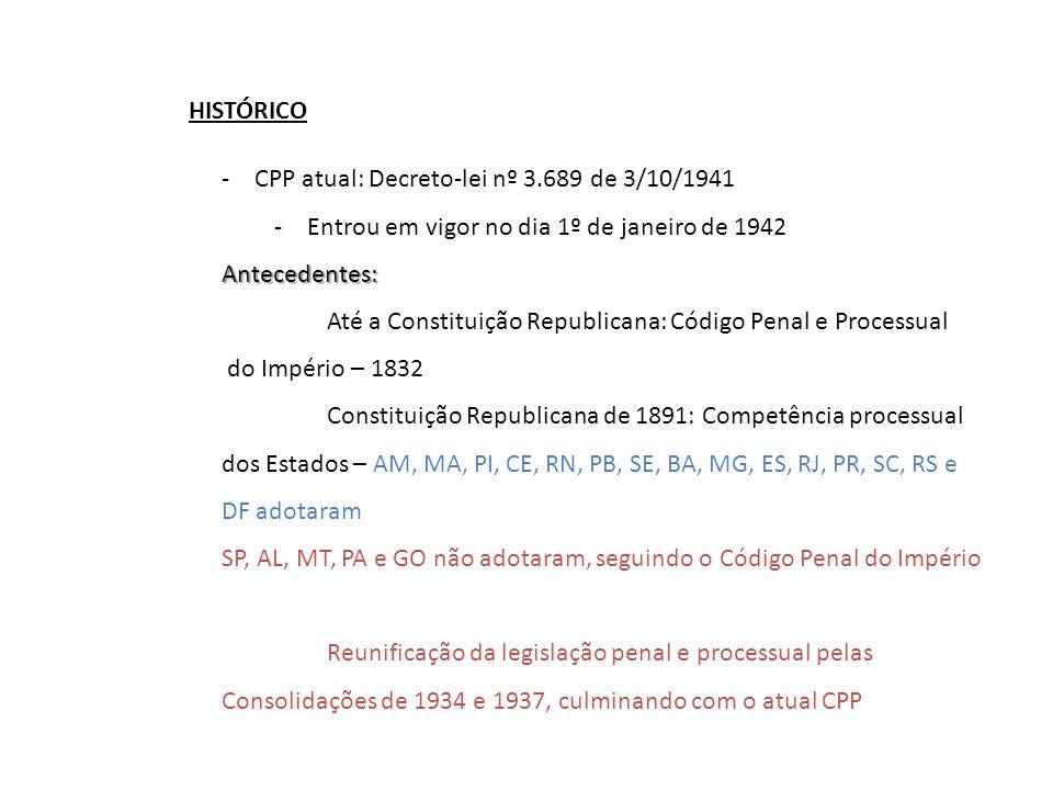HISTÓRICO -CPP atual: Decreto-lei nº 3.689 de 3/10/1941 -Entrou em vigor no dia 1º de janeiro de 1942Antecedentes: Até a Constituição Republicana: Cód