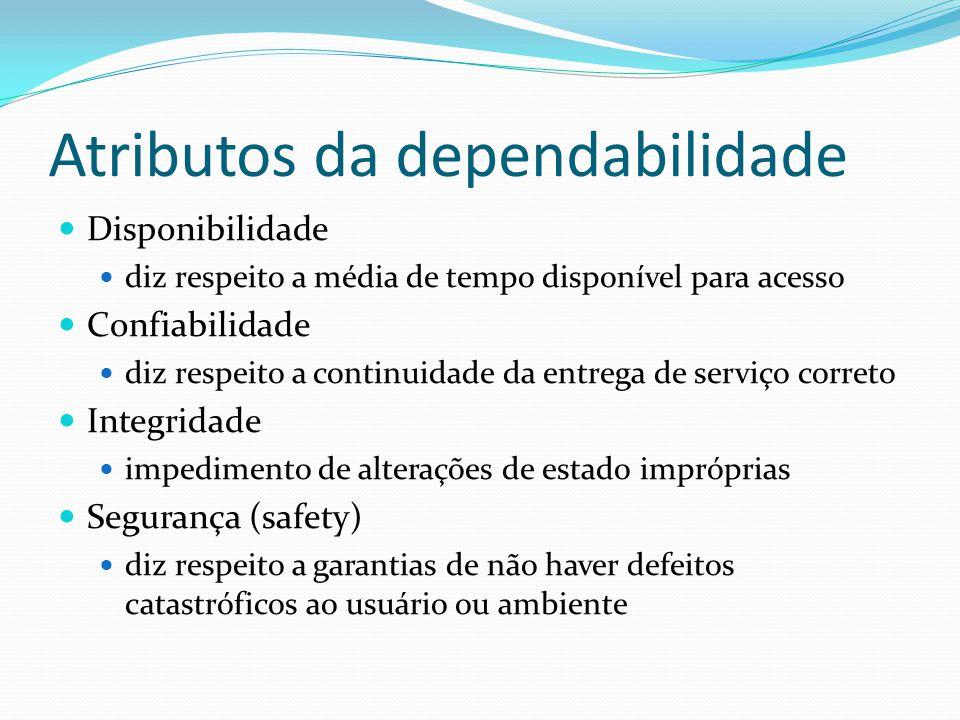 Atributos da dependabilidade Disponibilidade diz respeito a média de tempo disponível para acesso Confiabilidade diz respeito a continuidade da entreg