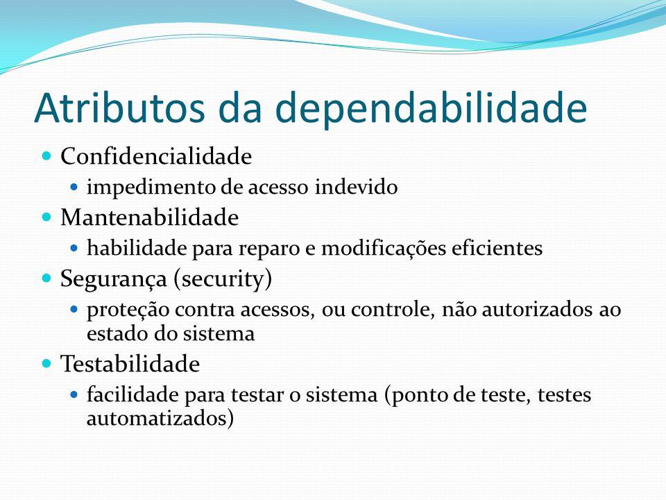 Atributos da dependabilidade Confidencialidade impedimento de acesso indevido Mantenabilidade habilidade para reparo e modificações eficientes Seguran