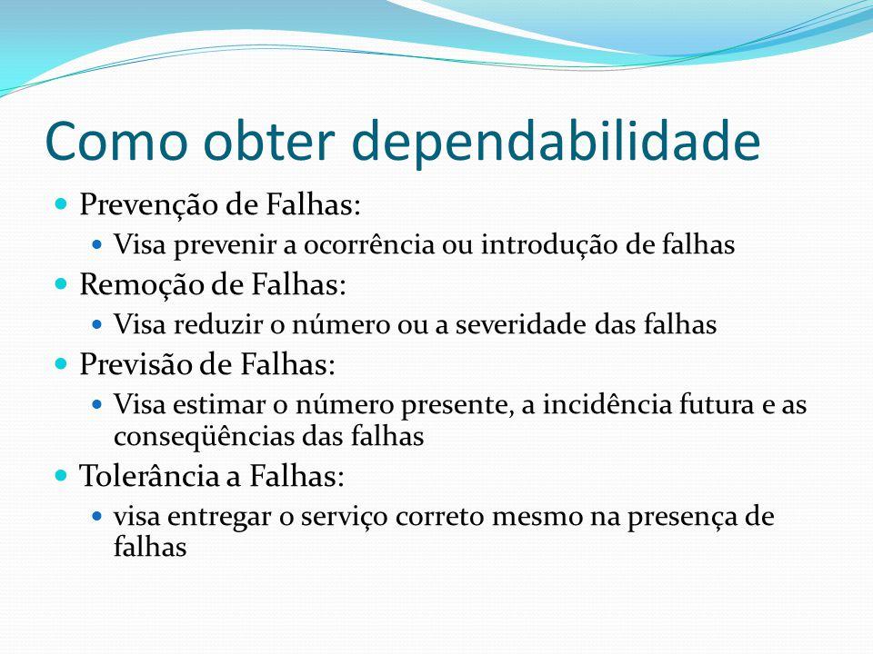 Como obter dependabilidade Prevenção de Falhas: Visa prevenir a ocorrência ou introdução de falhas Remoção de Falhas: Visa reduzir o número ou a sever