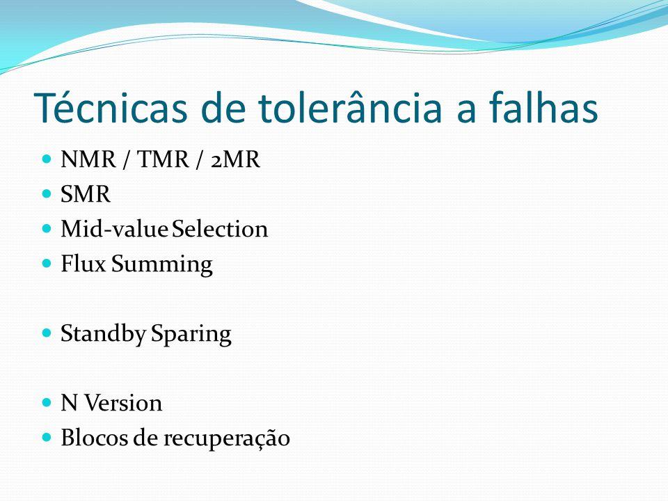 Técnicas de tolerância a falhas NMR / TMR / 2MR SMR Mid-value Selection Flux Summing Standby Sparing N Version Blocos de recuperação