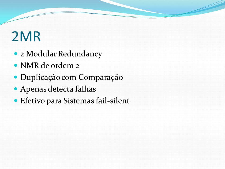 2MR 2 Modular Redundancy NMR de ordem 2 Duplicação com Comparação Apenas detecta falhas Efetivo para Sistemas fail-silent
