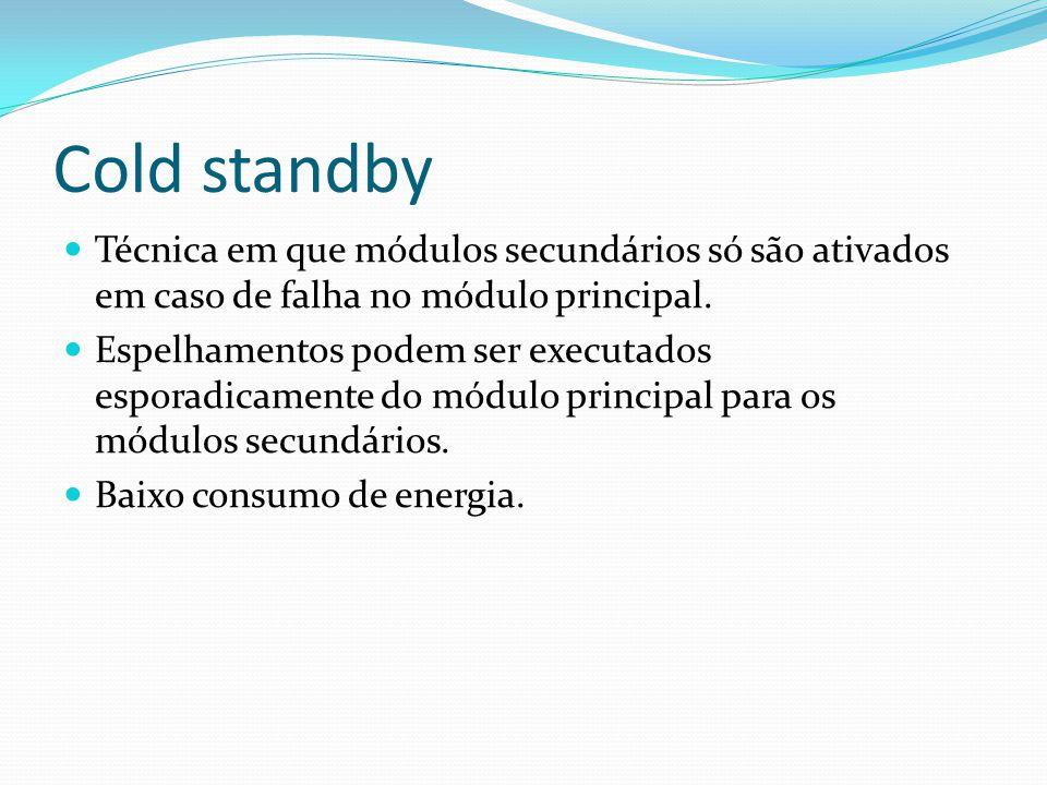 Cold standby Técnica em que módulos secundários só são ativados em caso de falha no módulo principal. Espelhamentos podem ser executados esporadicamen