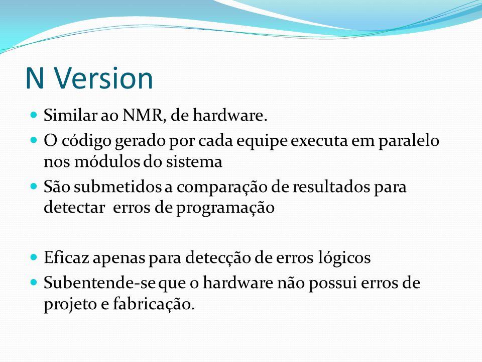 N Version Similar ao NMR, de hardware. O código gerado por cada equipe executa em paralelo nos módulos do sistema São submetidos a comparação de resul