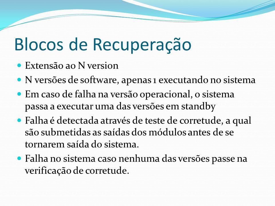 Blocos de Recuperação Extensão ao N version N versões de software, apenas 1 executando no sistema Em caso de falha na versão operacional, o sistema pa
