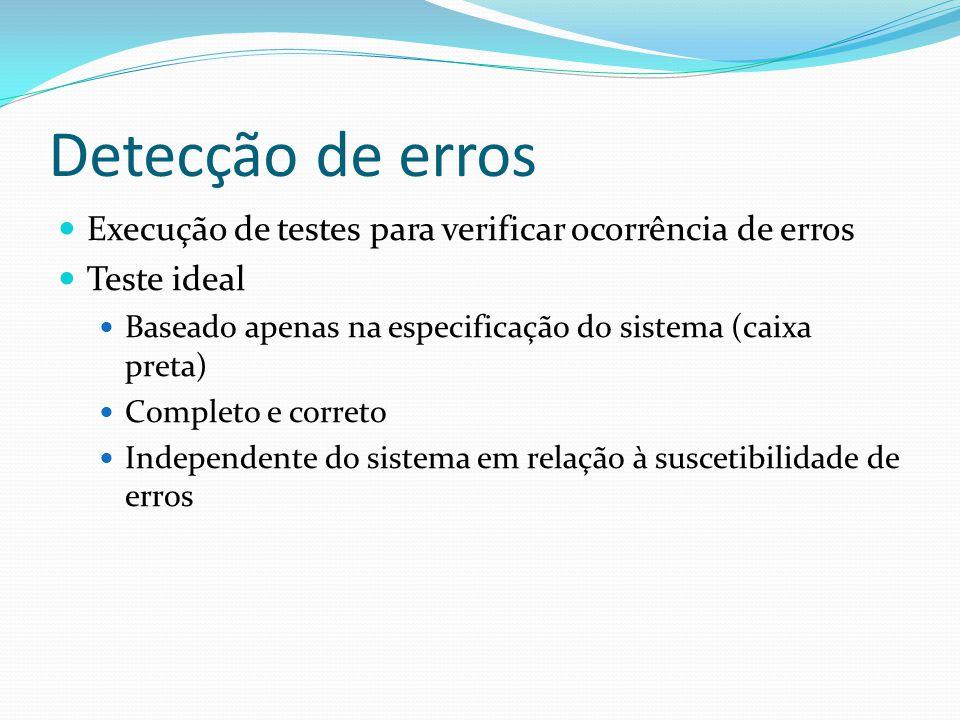 Detecção de erros Execução de testes para verificar ocorrência de erros Teste ideal Baseado apenas na especificação do sistema (caixa preta) Completo