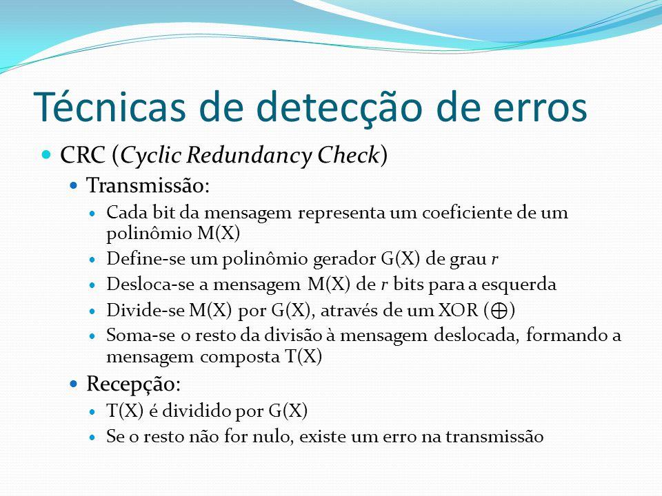 Técnicas de detecção de erros CRC (Cyclic Redundancy Check) Transmissão: Cada bit da mensagem representa um coeficiente de um polinômio M(X) Define-se