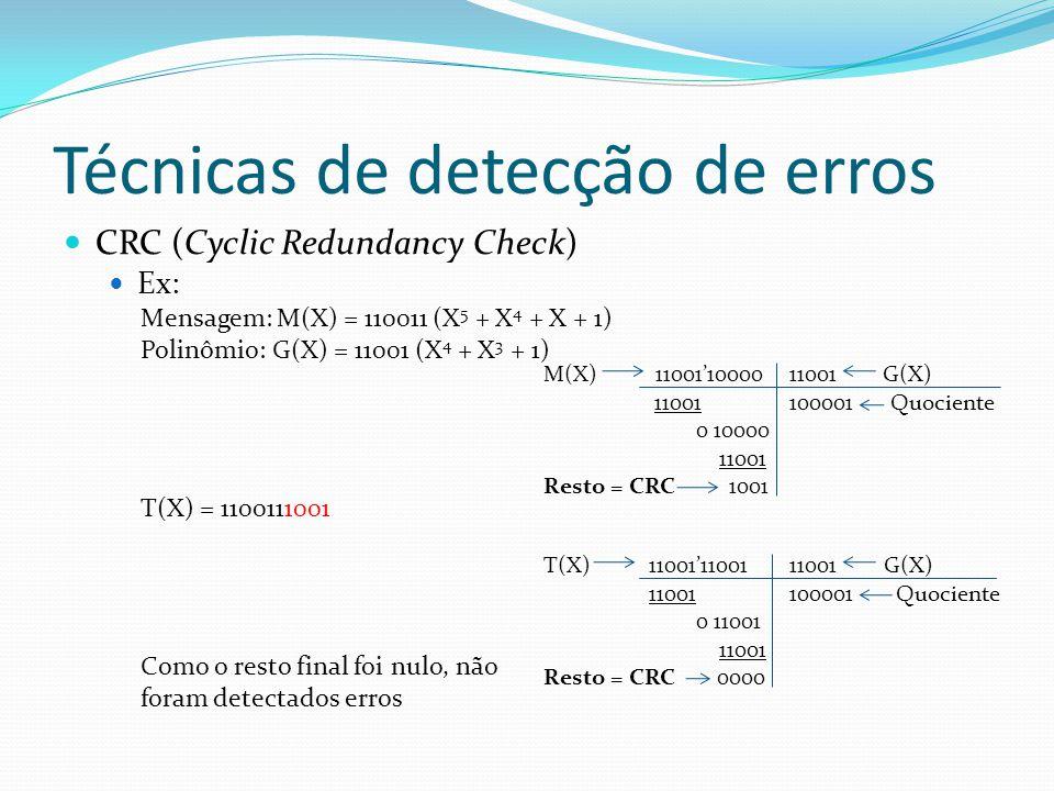 Técnicas de detecção de erros CRC (Cyclic Redundancy Check) Ex: Mensagem: M(X) = 110011 (X 5 + X 4 + X + 1) Polinômio: G(X) = 11001 (X 4 + X 3 + 1) T(