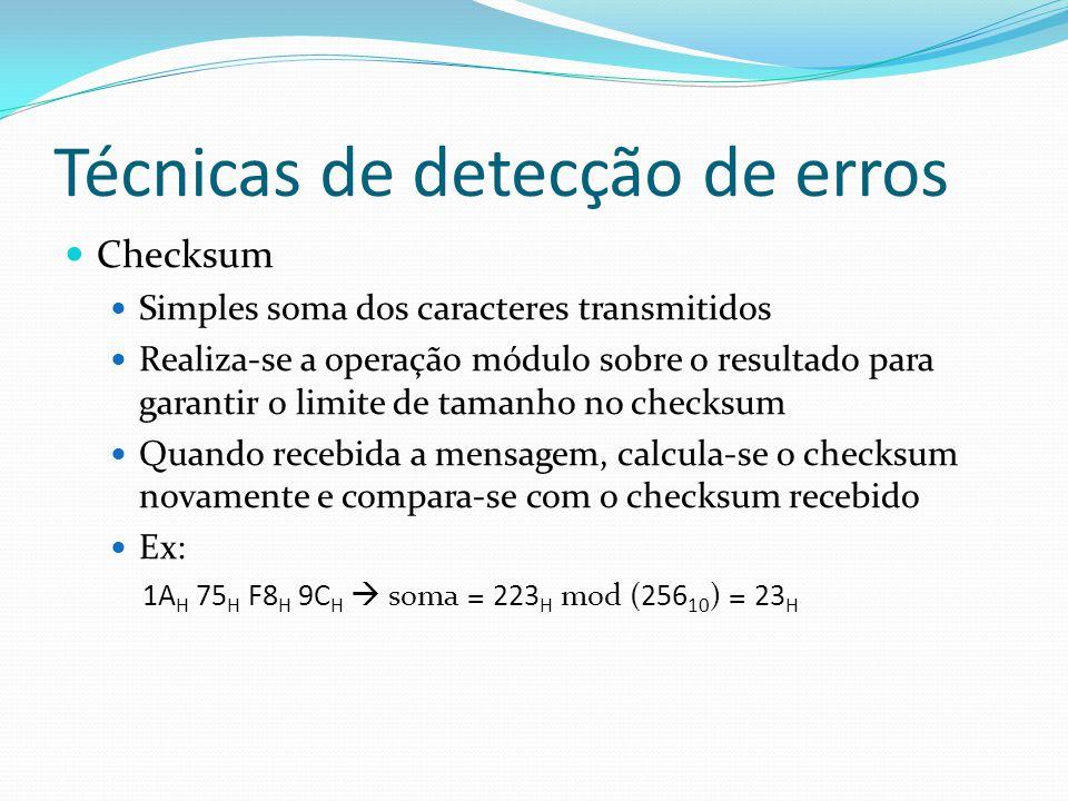 Técnicas de detecção de erros Checksum Simples soma dos caracteres transmitidos Realiza-se a operação módulo sobre o resultado para garantir o limite