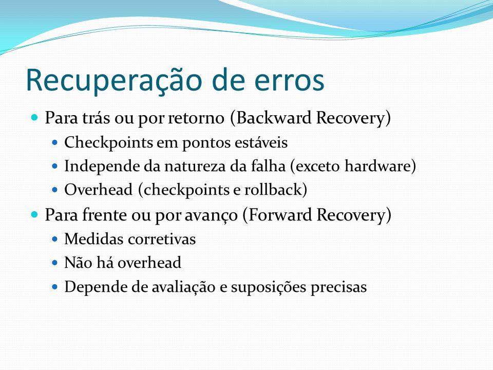 Recuperação de erros Para trás ou por retorno (Backward Recovery) Checkpoints em pontos estáveis Independe da natureza da falha (exceto hardware) Over