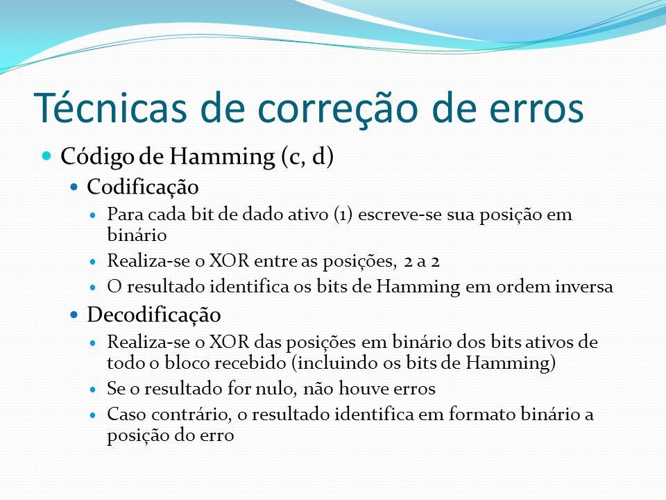 Técnicas de correção de erros Código de Hamming (c, d) Codificação Para cada bit de dado ativo (1) escreve-se sua posição em binário Realiza-se o XOR