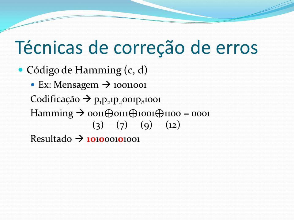 Técnicas de correção de erros Código de Hamming (c, d) Ex: Mensagem 10011001 Codificação p 1 p 2 1p 4 001p 8 1001 Hamming 0011 0111 1001 1100 = 0001 (