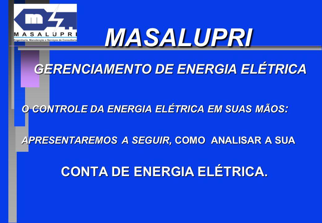 MASALUPRI MASALUPRI GERENCIAMENTO DE ENERGIA ELÉTRICA GERENCIAMENTO DE ENERGIA ELÉTRICA O CONTROLE DA ENERGIA ELÉTRICA EM SUAS MÃOS : APRESENTAREMOS A