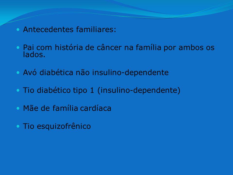 Antecedentes familiares: Pai com história de câncer na família por ambos os lados. Avó diabética não insulino-dependente Tio diabético tipo 1 (insulin