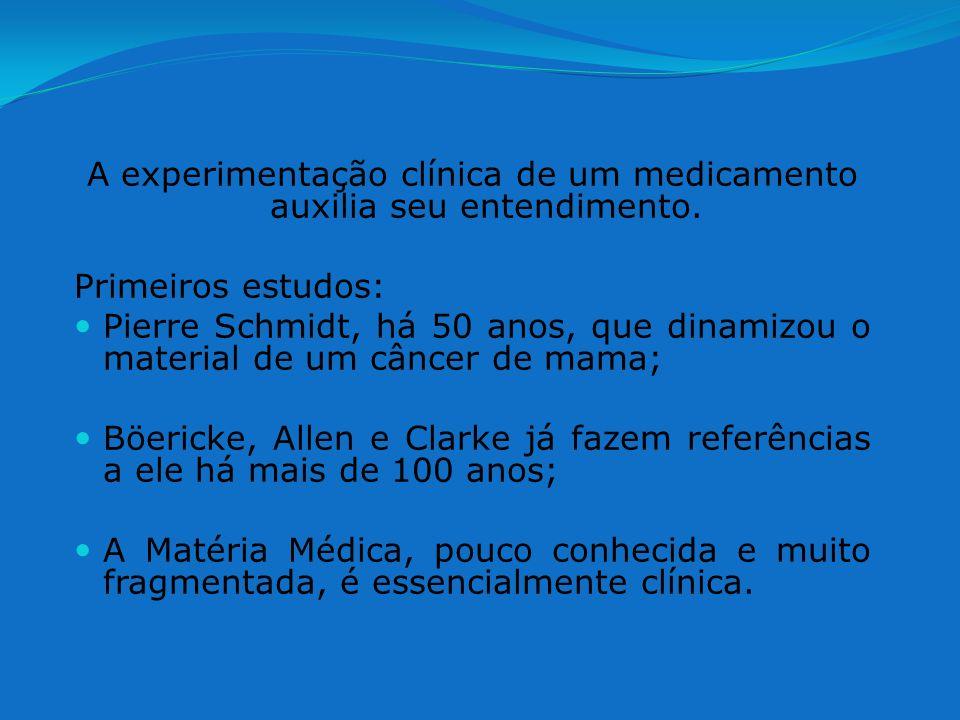 A experimentação clínica de um medicamento auxilia seu entendimento. Primeiros estudos: Pierre Schmidt, há 50 anos, que dinamizou o material de um cân