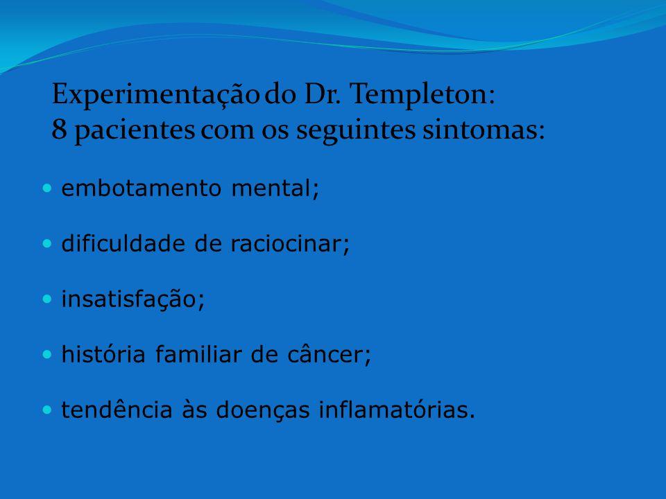 embotamento mental; dificuldade de raciocinar; insatisfação; história familiar de câncer; tendência às doenças inflamatórias. Experimentação do Dr. Te