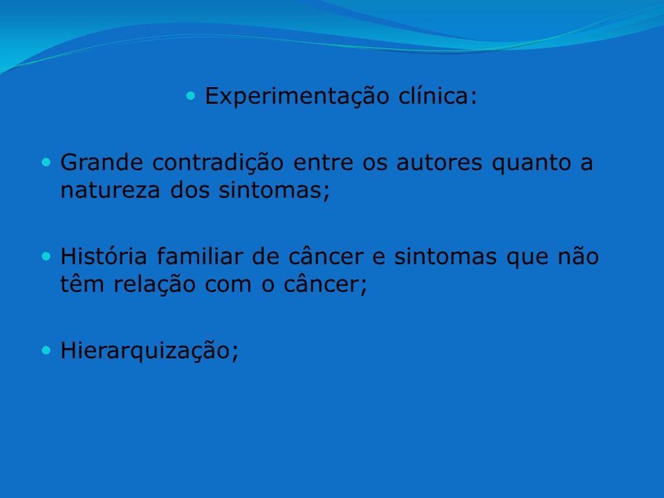 Experimentação clínica: Grande contradição entre os autores quanto a natureza dos sintomas; História familiar de câncer e sintomas que não têm relação