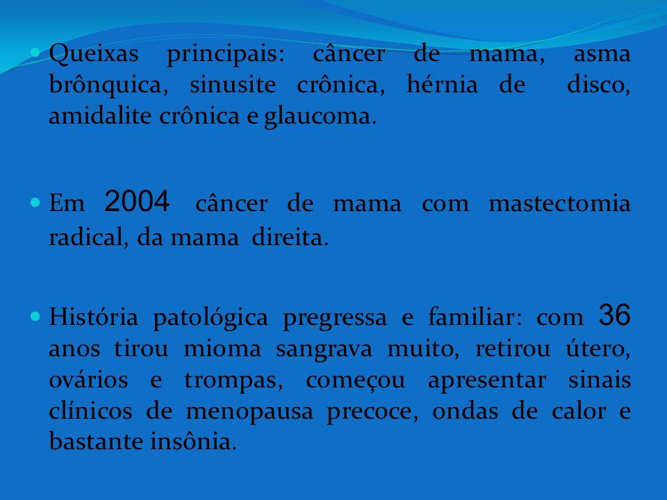 Queixas principais: câncer de mama, asma brônquica, sinusite crônica, hérnia de disco, amidalite crônica e glaucoma. Em 2004 câncer de mama com mastec