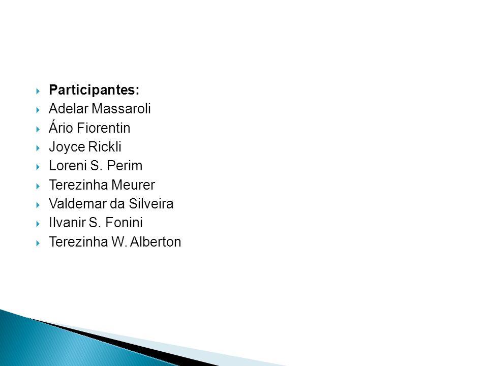 Participantes: Adelar Massaroli Ário Fiorentin Joyce Rickli Loreni S. Perim Terezinha Meurer Valdemar da Silveira Ilvanir S. Fonini Terezinha W. Alber