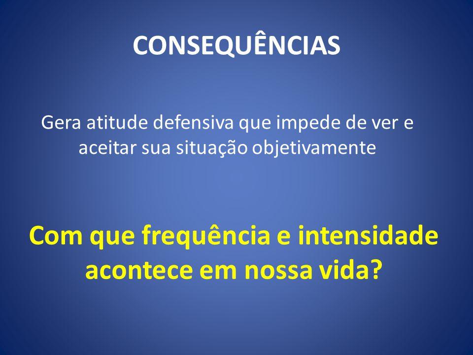 CONSEQUÊNCIAS Gera atitude defensiva que impede de ver e aceitar sua situação objetivamente Com que frequência e intensidade acontece em nossa vida?