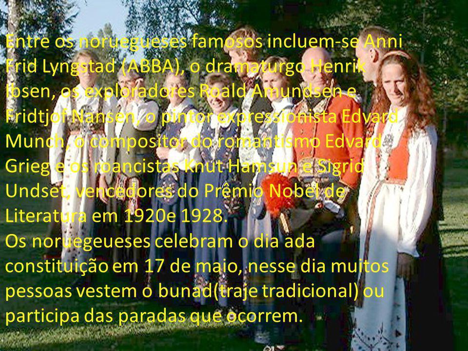 Entre os noruegueses famosos incluem-se Anni Frid Lyngstad (ABBA), o dramaturgo Henrik Ibsen, os exploradores Roald Amundsen e Fridtjof Nansen, o pint