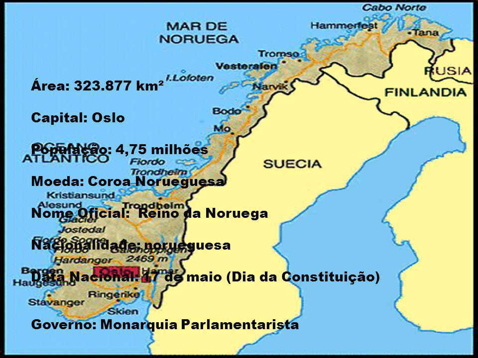 Área: 323.877 km² Capital: Oslo População: 4,75 milhões Moeda: Coroa Norueguesa Nome Oficial: Reino da Noruega Nacionalidade: norueguesa Data Nacional