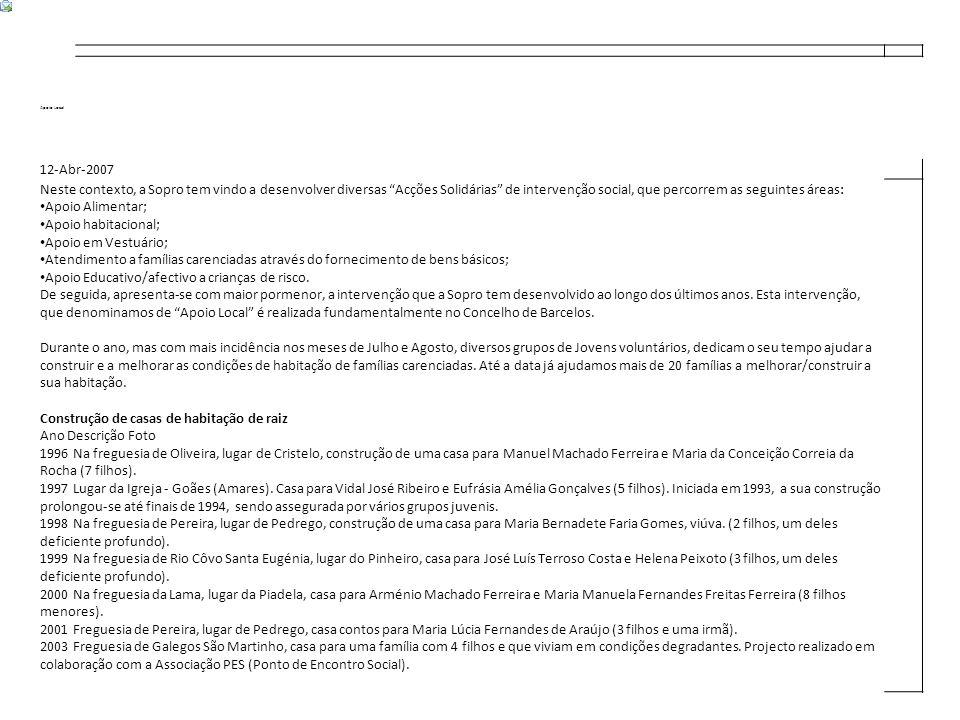 Apoio Local 12-Abr-2007 Neste contexto, a Sopro tem vindo a desenvolver diversas Acções Solidárias de intervenção social, que percorrem as seguintes áreas: Apoio Alimentar; Apoio habitacional; Apoio em Vestuário; Atendimento a famílias carenciadas através do fornecimento de bens básicos; Apoio Educativo/afectivo a crianças de risco.