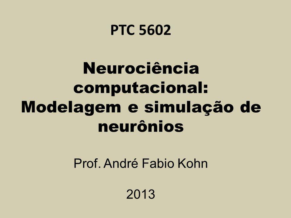 PTC 5602 Neurociência computacional: Modelagem e simulação de neurônios Prof. André Fabio Kohn 2013