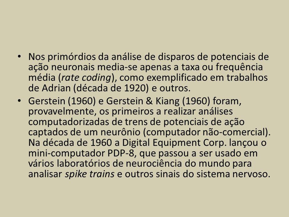 Nos primórdios da análise de disparos de potenciais de ação neuronais media-se apenas a taxa ou frequência média (rate coding), como exemplificado em