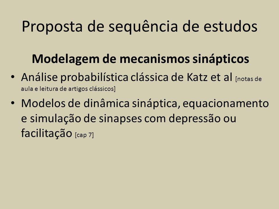 Proposta de sequência de estudos Modelagem de mecanismos sinápticos Análise probabilística clássica de Katz et al [notas de aula e leitura de artigos