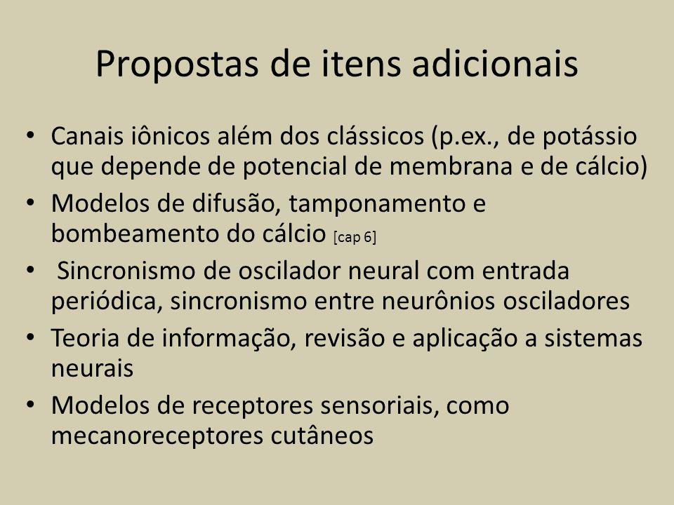 Propostas de itens adicionais Canais iônicos além dos clássicos (p.ex., de potássio que depende de potencial de membrana e de cálcio) Modelos de difus