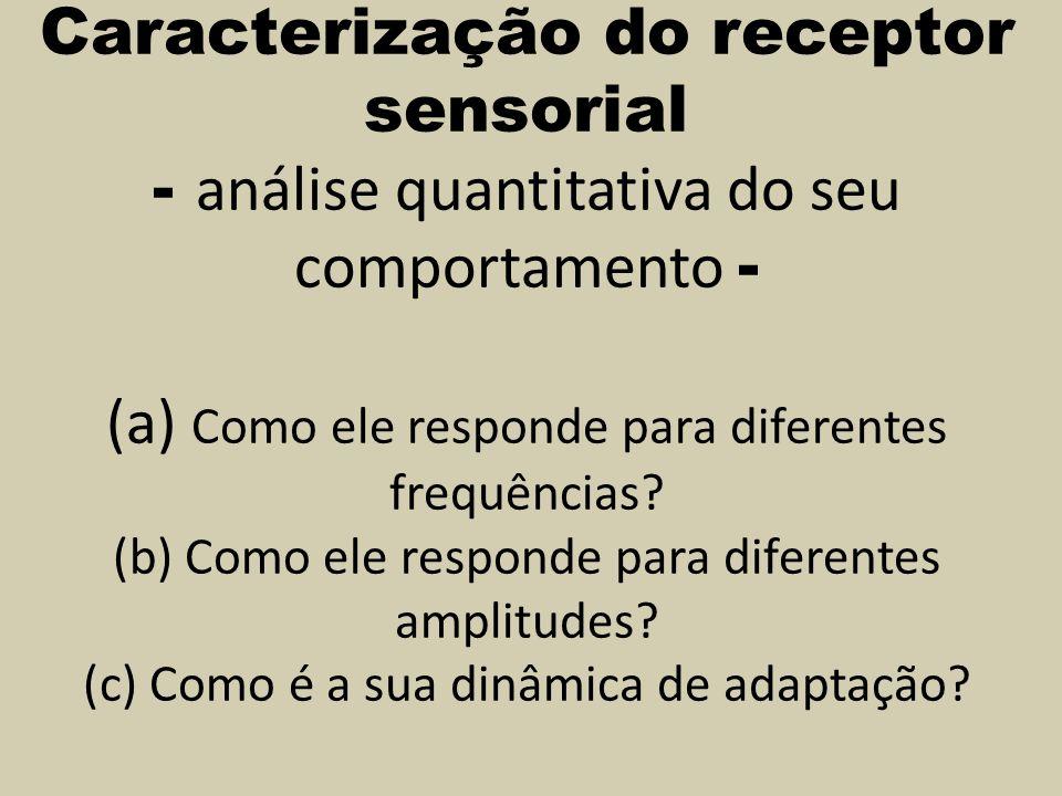 Caracterização do receptor sensorial - análise quantitativa do seu comportamento - (a) Como ele responde para diferentes frequências? (b) Como ele res