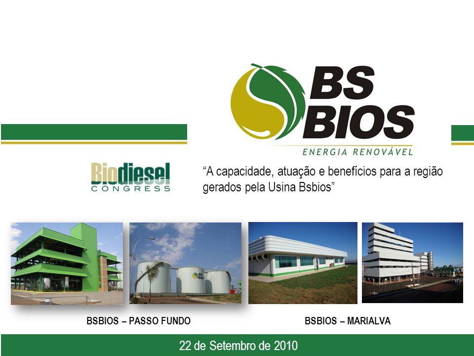 A capacidade, atuação e benefícios para a região gerados pela Usina Bsbios 6 de abril de 2010 22 de Setembro de 2010 BSBIOS – PASSO FUNDOBSBIOS – MARIALVA