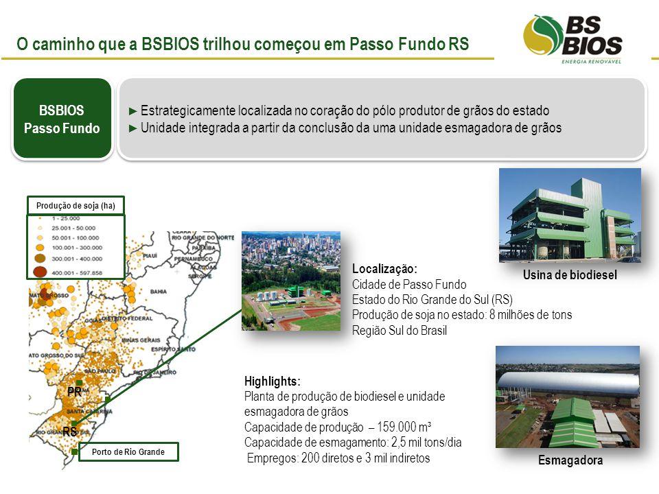Planta de biodiesel adquirida em parceria com a Pbio Localizada no segundo maior pólo produtor de grãos do estado do Paraná.