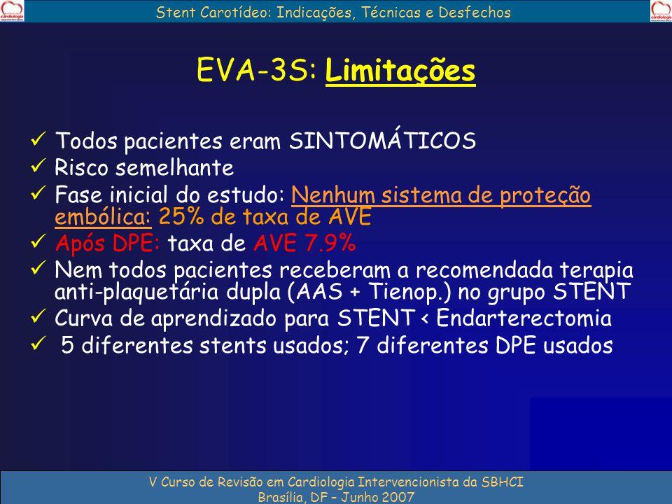 Stent Carotídeo: Indicações, Técnicas e Desfechos V Curso de Revisão em Cardiologia Intervencionista da SBHCI Brasília, DF – Junho 2007 EVA-3S: Limita