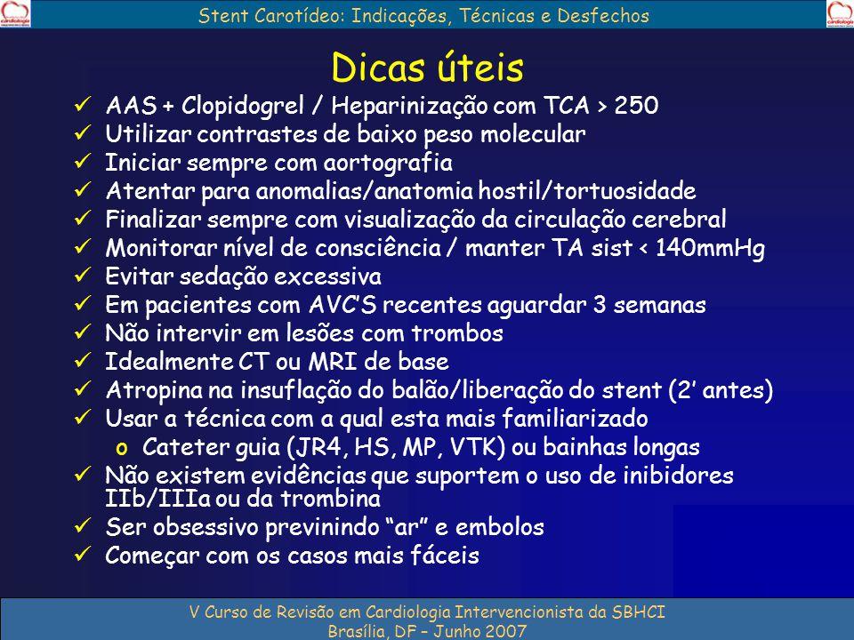 Stent Carotídeo: Indicações, Técnicas e Desfechos V Curso de Revisão em Cardiologia Intervencionista da SBHCI Brasília, DF – Junho 2007 Dicas úteis AA