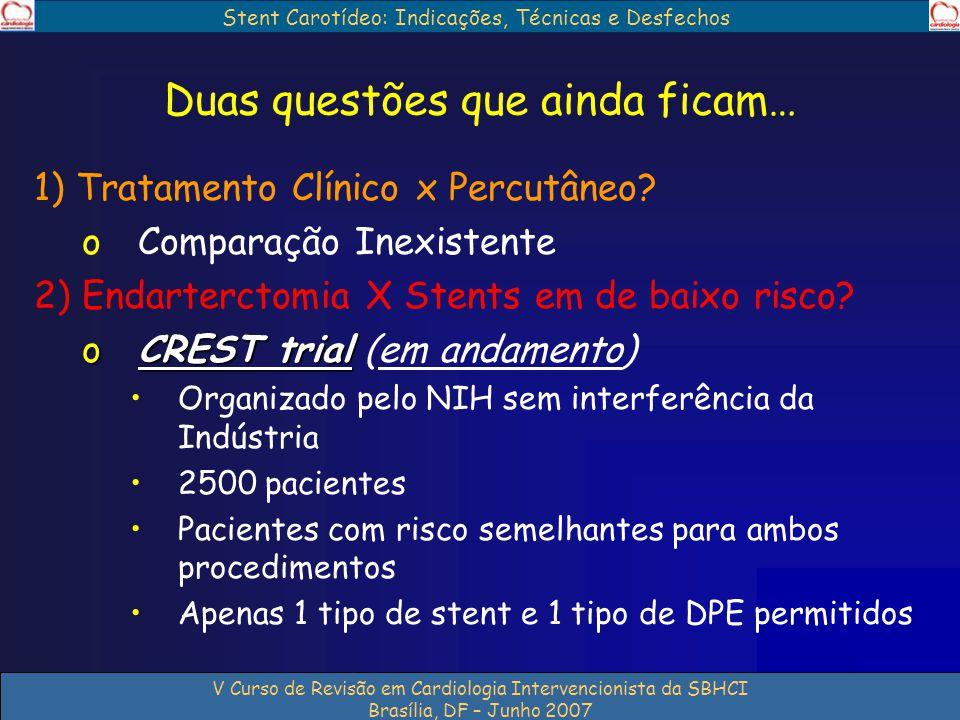 Stent Carotídeo: Indicações, Técnicas e Desfechos V Curso de Revisão em Cardiologia Intervencionista da SBHCI Brasília, DF – Junho 2007 Duas questões