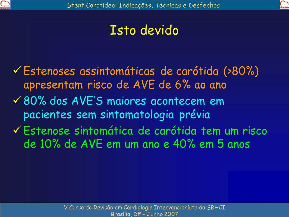 Stent Carotídeo: Indicações, Técnicas e Desfechos V Curso de Revisão em Cardiologia Intervencionista da SBHCI Brasília, DF – Junho 2007 Isto devido Es