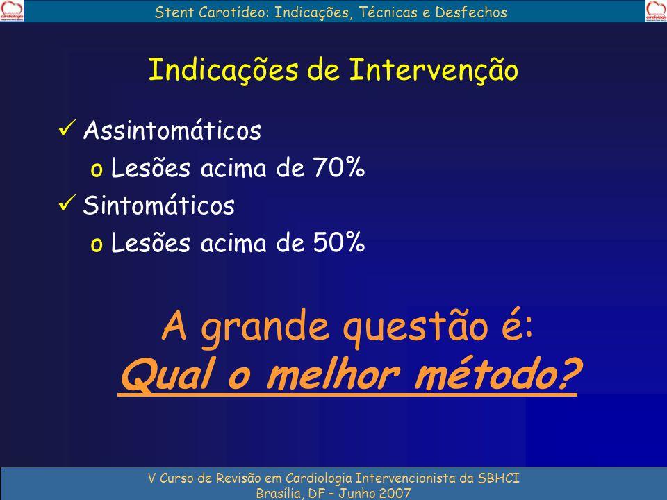 Stent Carotídeo: Indicações, Técnicas e Desfechos V Curso de Revisão em Cardiologia Intervencionista da SBHCI Brasília, DF – Junho 2007 Indicações de