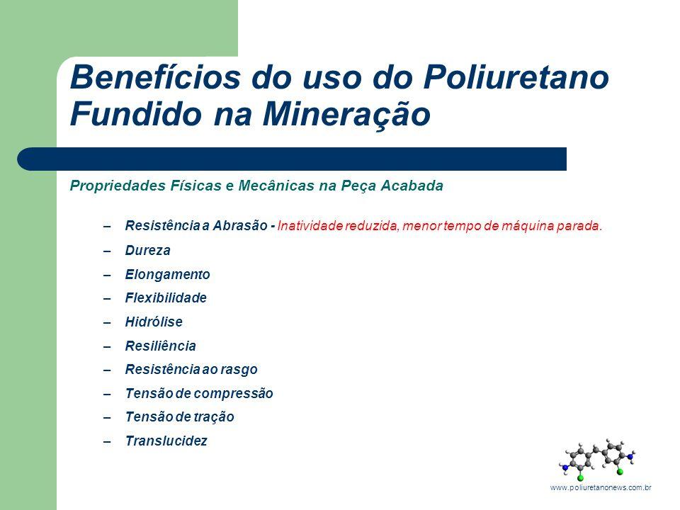 Benefícios do uso do Poliuretano Fundido na Mineração Propriedades Físicas e Mecânicas na Peça Acabada –Resistência a Abrasão - Inatividade reduzida,