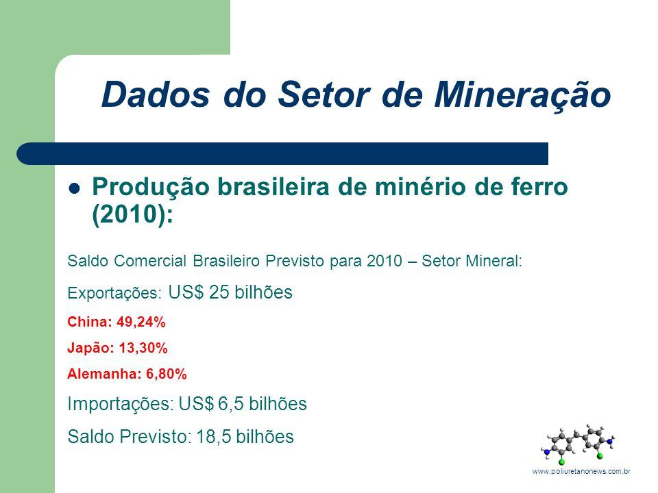 Dados do Setor de Mineração Produção brasileira de minério de ferro (2010): Saldo Comercial Brasileiro Previsto para 2010 – Setor Mineral: Exportações